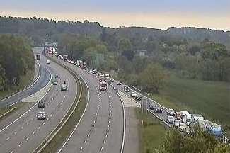 Traffic queues off J10 of the M20 after the London-bound carriageway was closed
