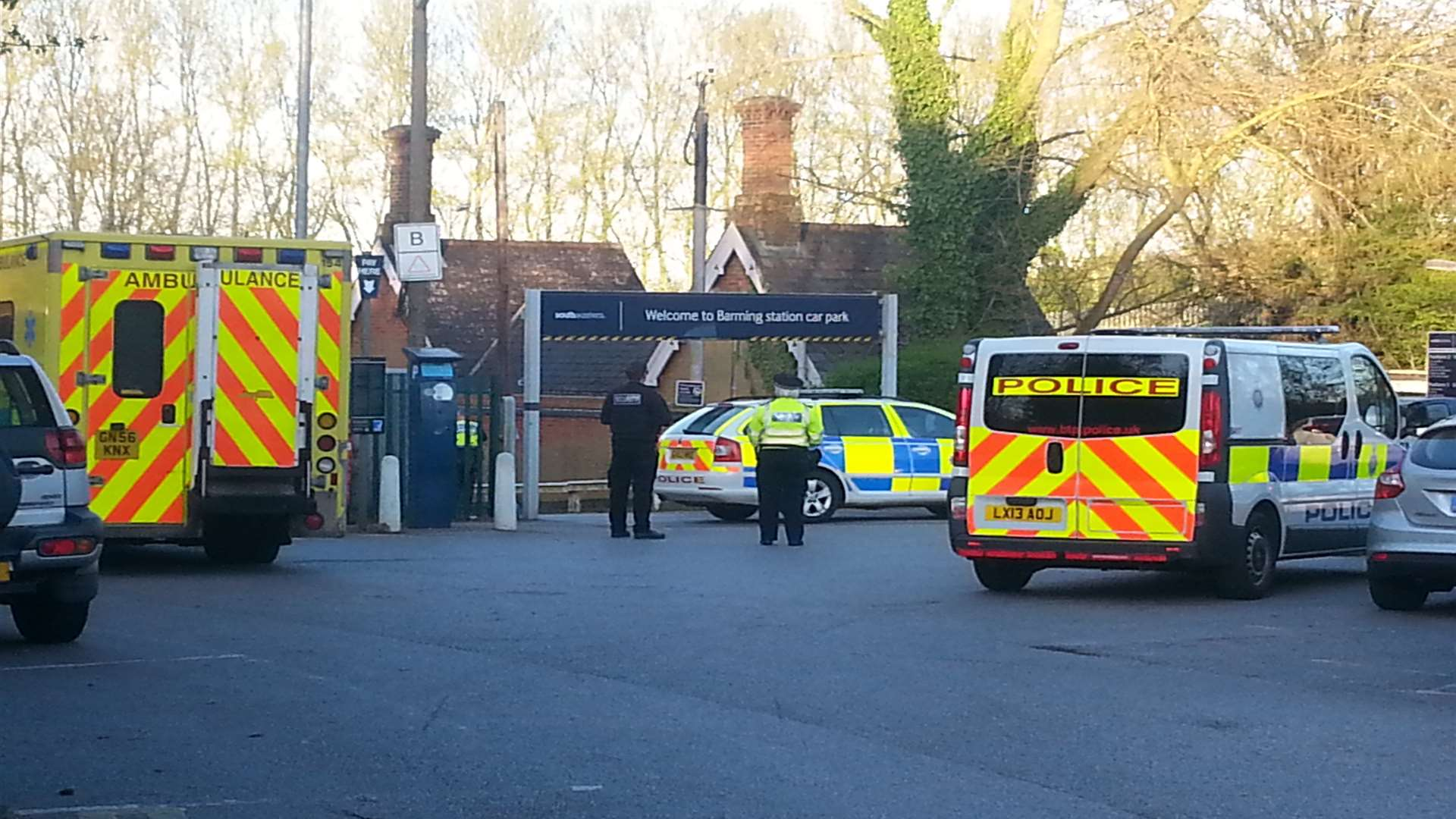 The scene outside Barming Railway Station after the tragic death of Natalie Gray