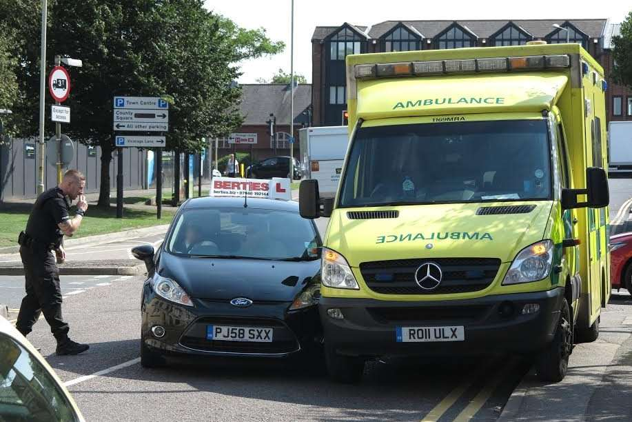 A learner driver crashed into an ambulance in Canterbury Road. Picture: Andy Clark