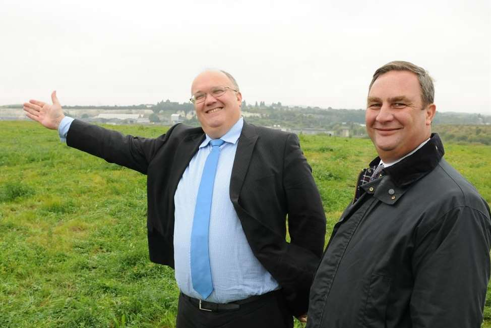 Council leaders Jeremy Kite and John Burden on the Swanscombe Peninsula