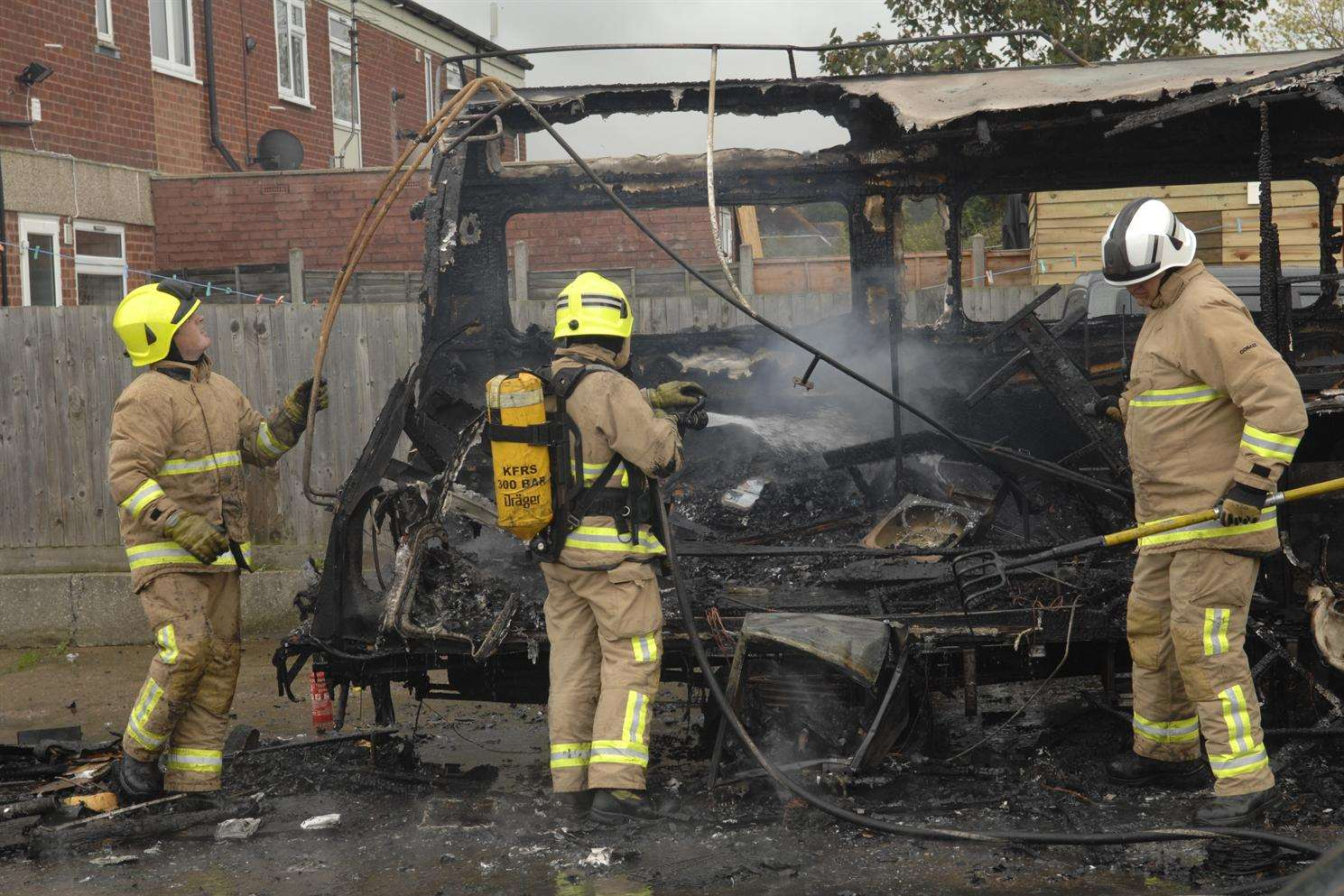 Crews spent almost an hour tackling the blaze