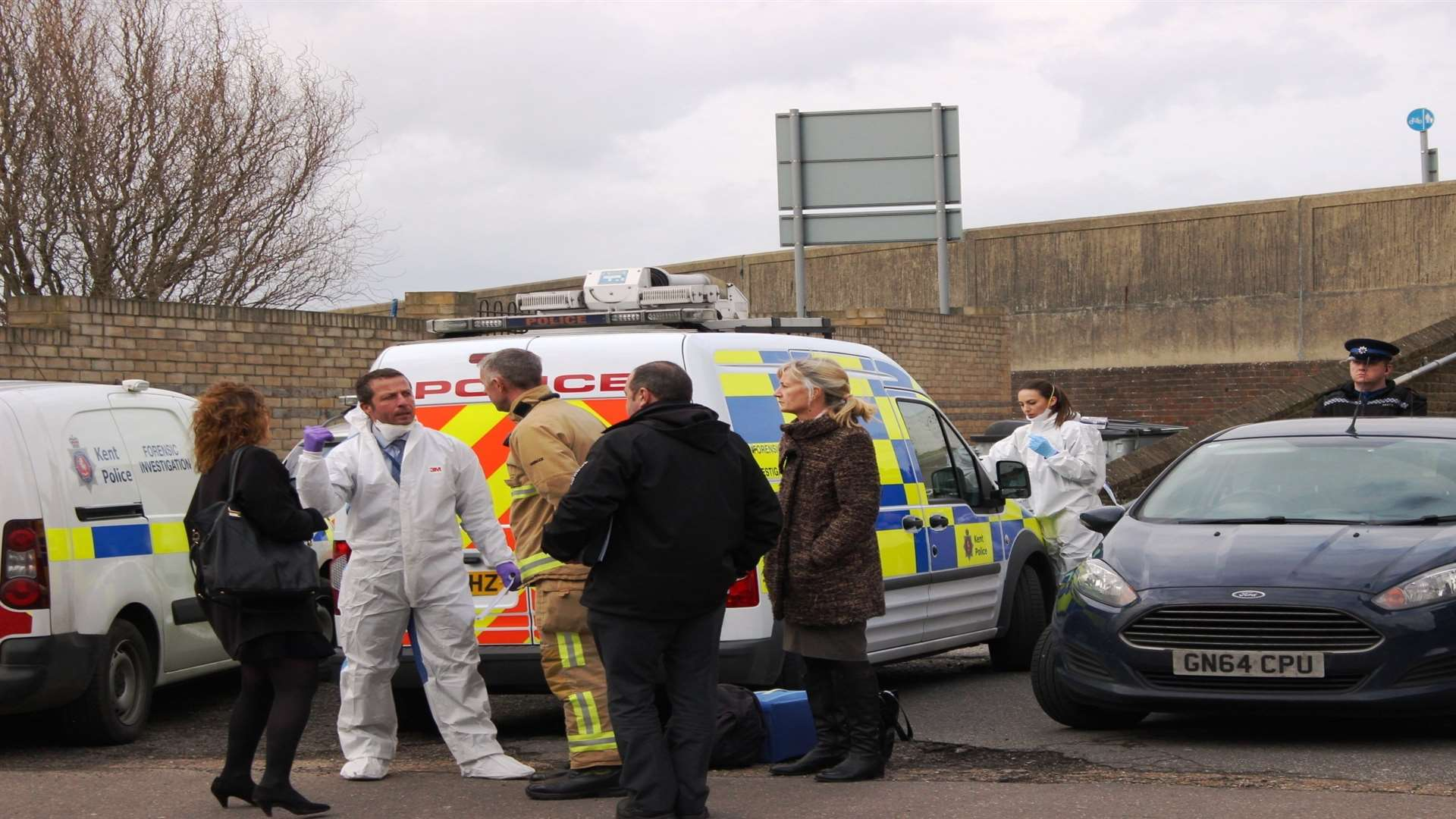 Police forensics experts at Broadway Sheerness in March