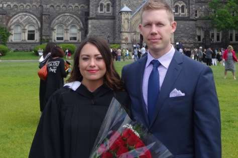 Christopher Pollitt and his girlfriend Meagan Rodi in Canada when she graduated