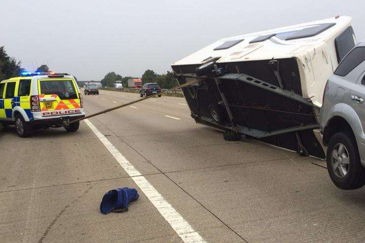 A caravan overturned on the M20. Picture: Kent Police Roads Unit