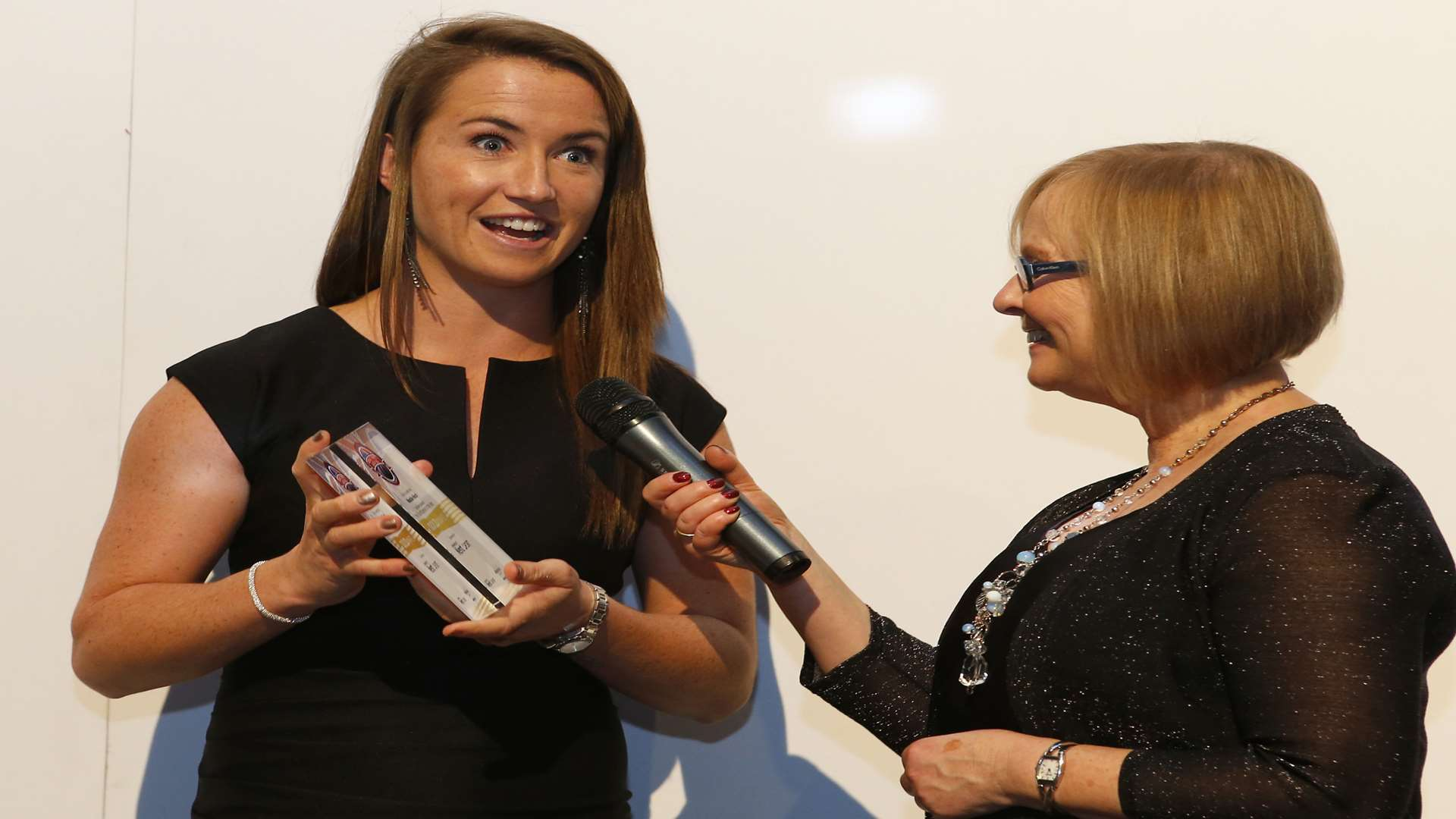 Maddie Hinch is interviewed by Eleanor Oldroyd after winning Sportsperson of the Year. Picture: Andy Jones
