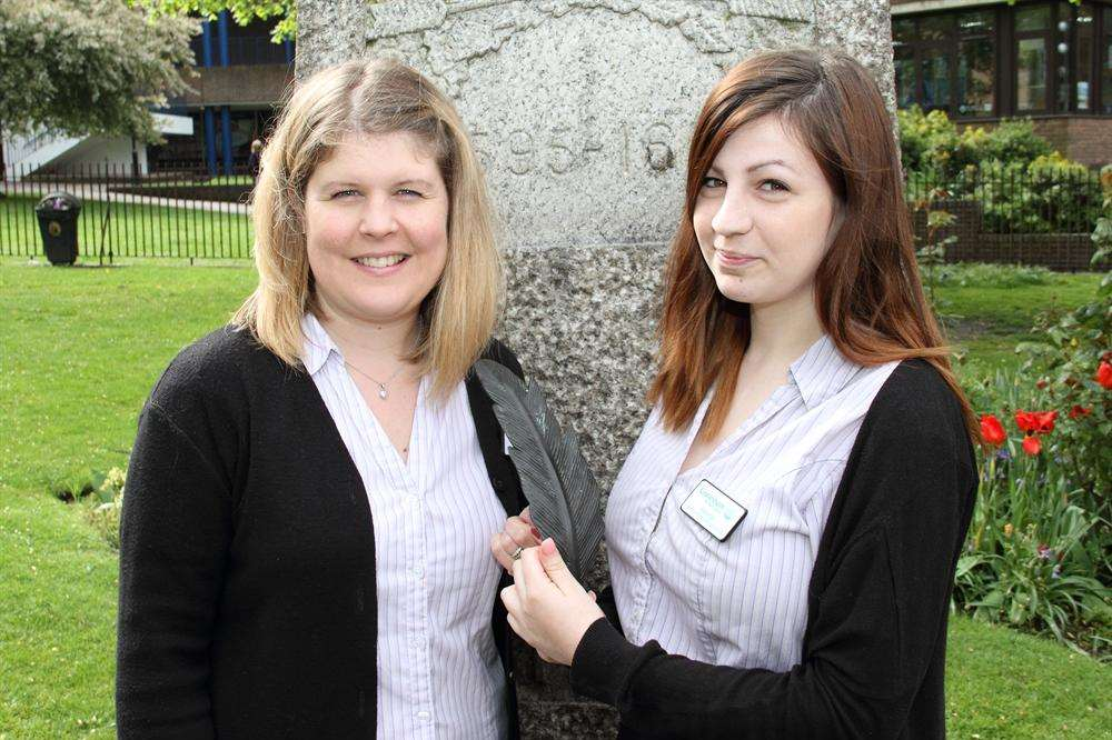 Karen Gingles, 37, and Kayleigh Hall, 18, were given Pocahontas' feather by a dog walker