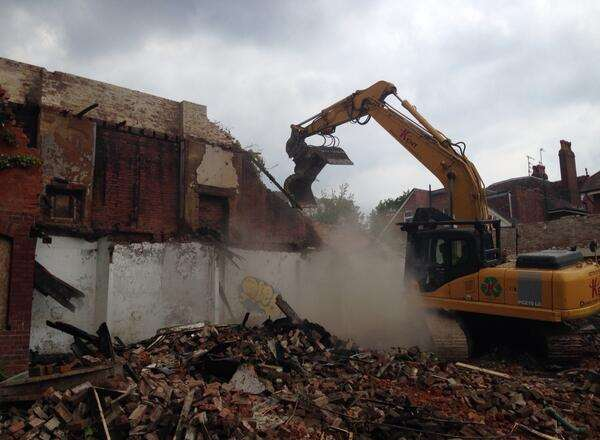 Kent Demolition was called in to knock the remains of the building down. Picture: @TeamKentDemo