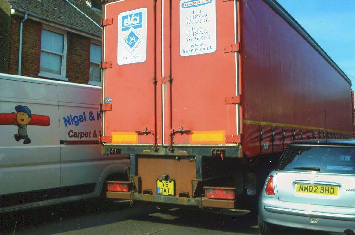 It's a close shave in Middle Deal Road, as lorries try to squeeze through tight gaps