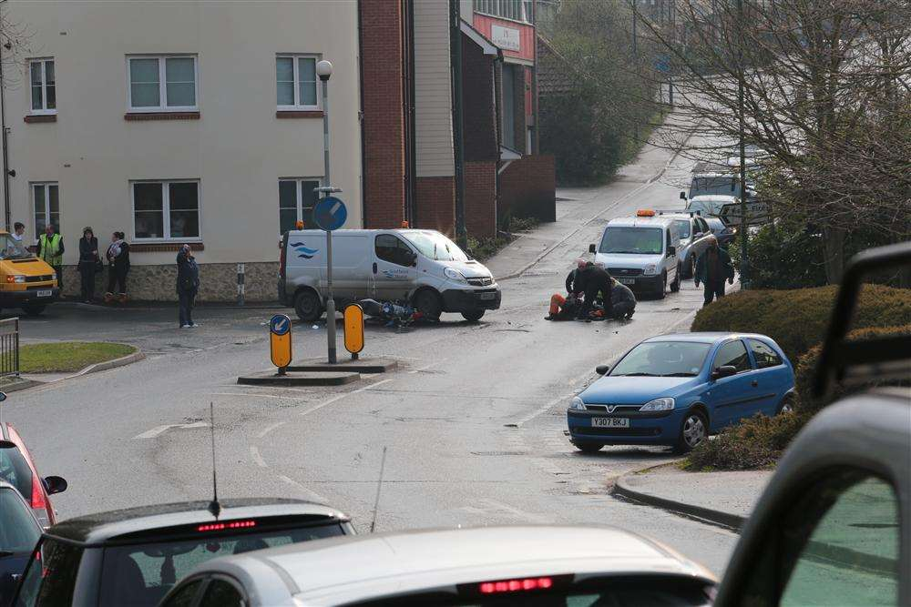 The scene of a road accident in Farleigh Hill, Tovil this afternoon