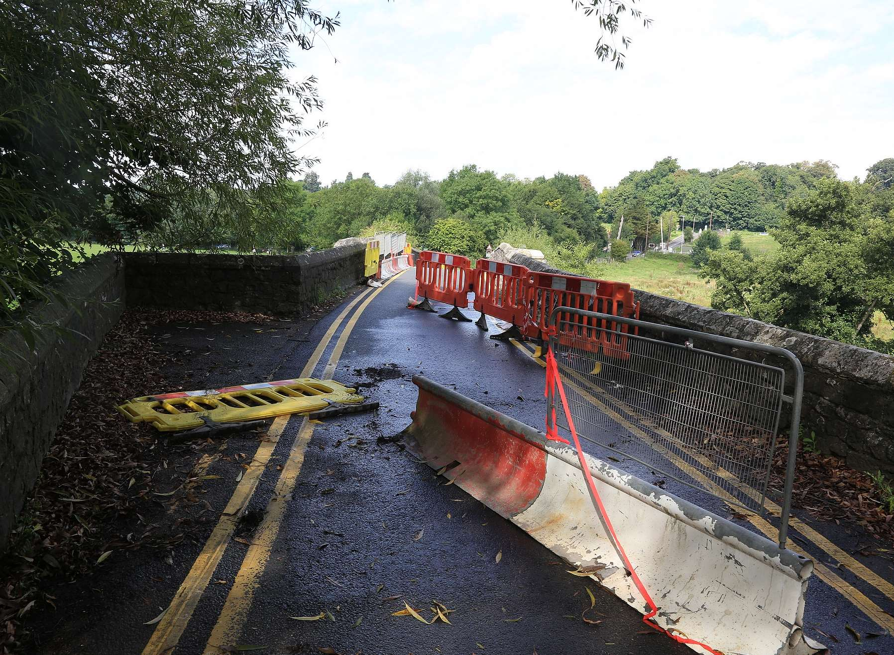 A driver went through temporary barriers set up after Teston Bridge was damaged by an alleged drink driver. Picture by Mike Mahoney