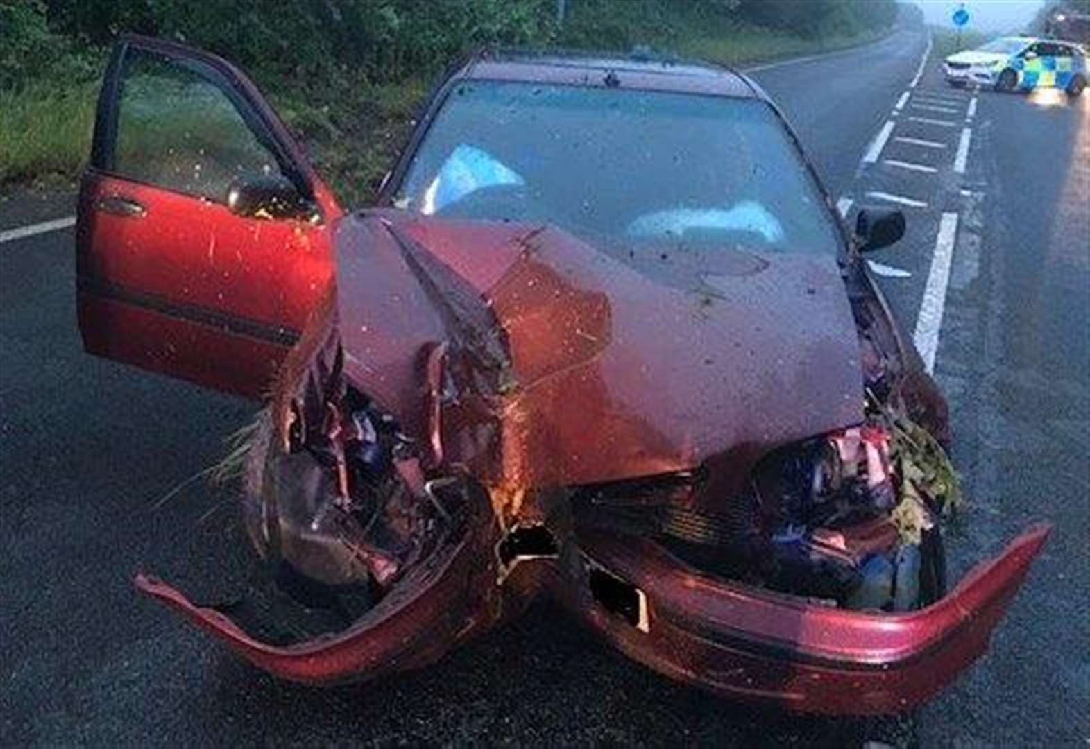 Car smashed after swerving to avoid animal