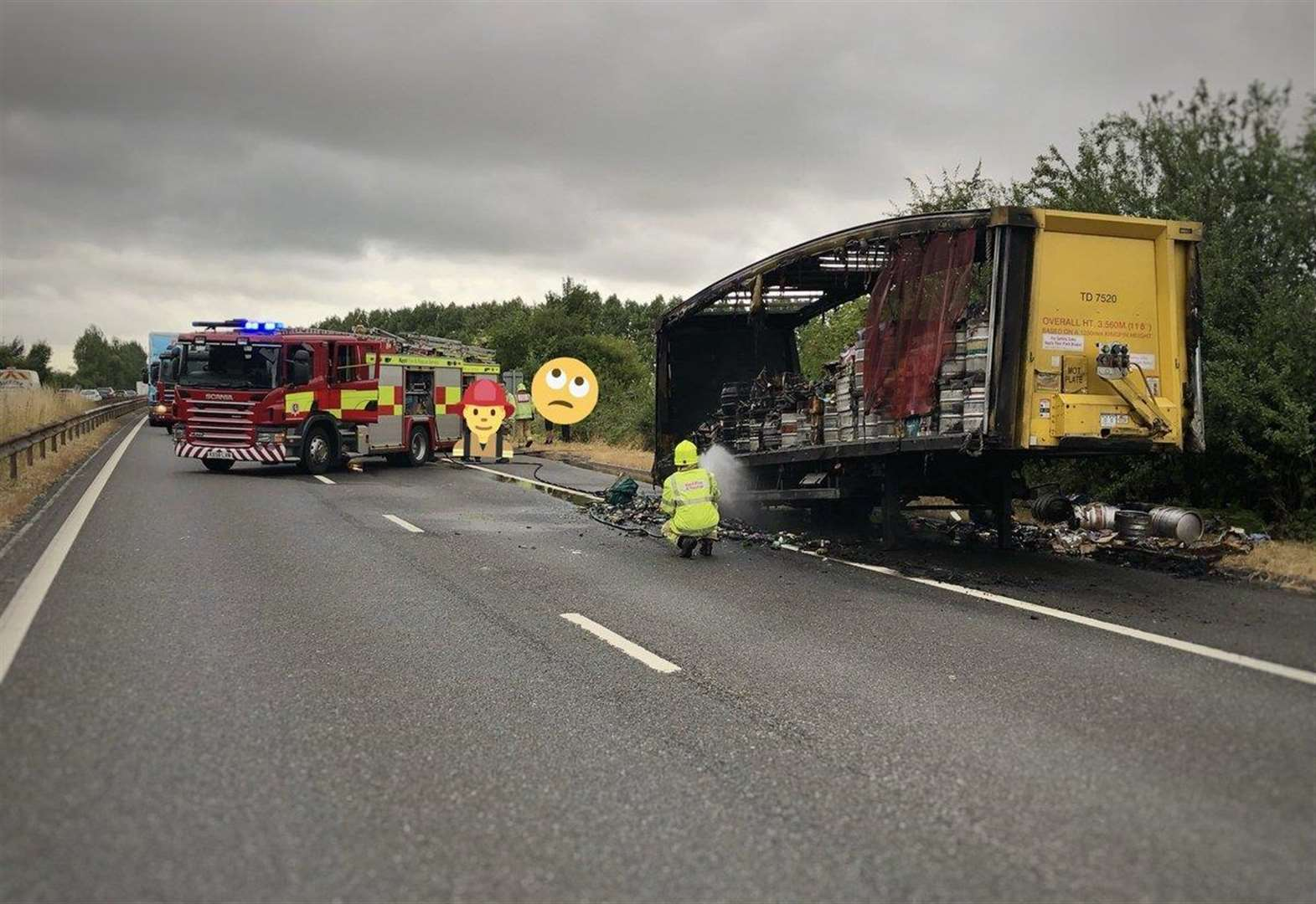 Booze truck fire causes delays on M2