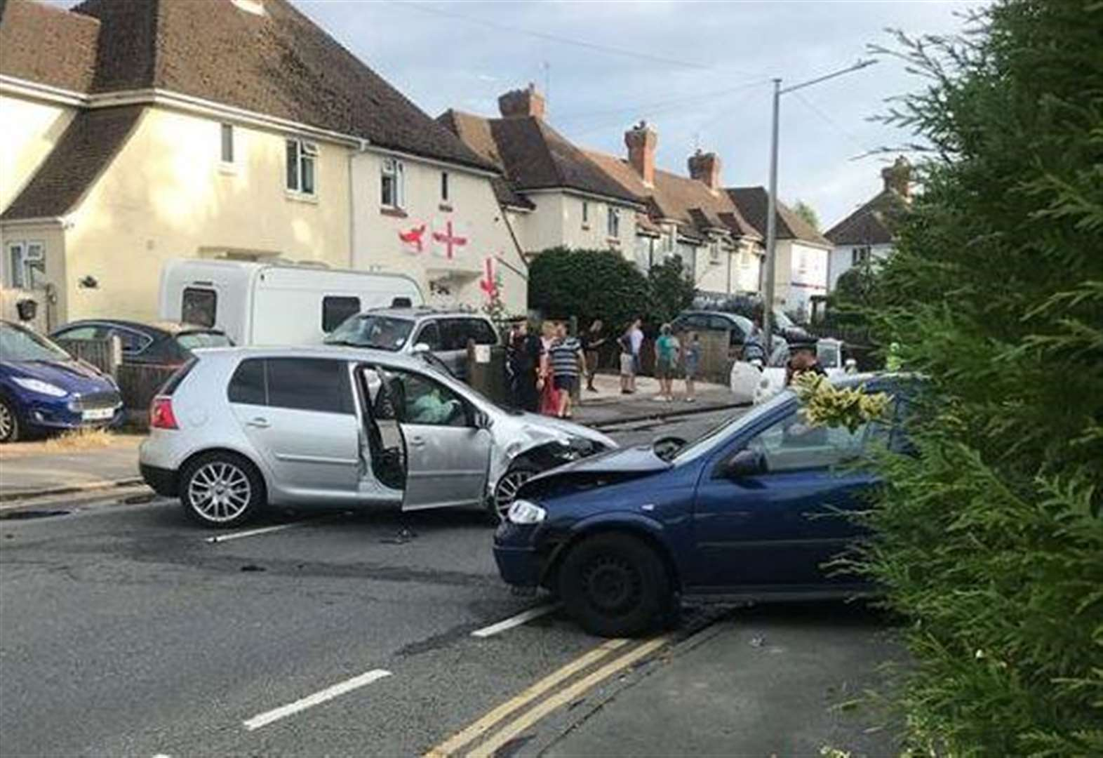 Man stabbed after car crash