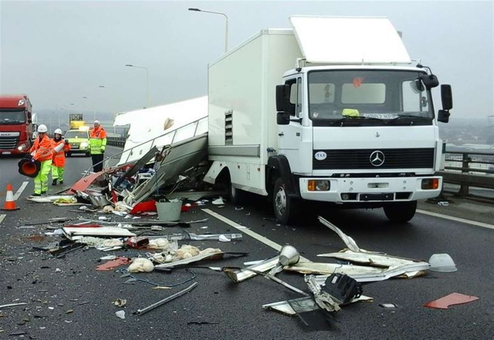 Bridge delays after lorry crash