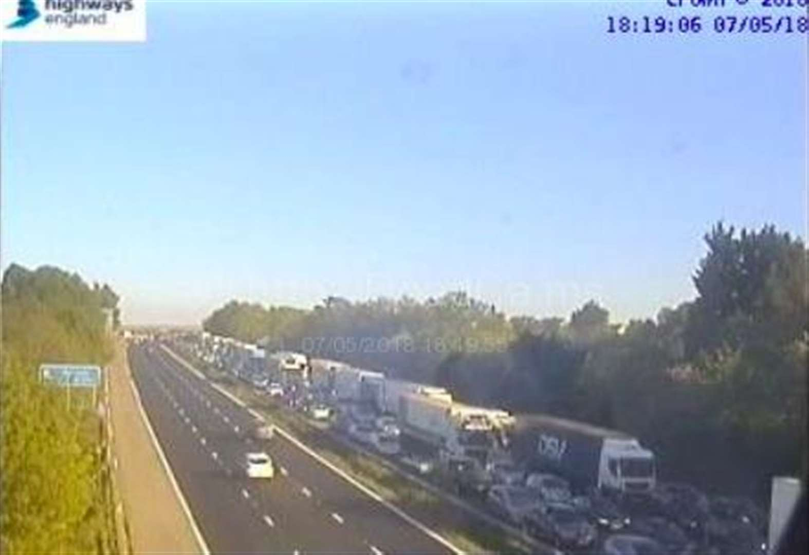 Motorway pile up leads to lengthy delays