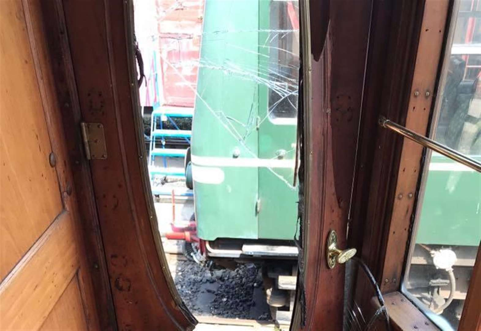Vandals trash historic steam train