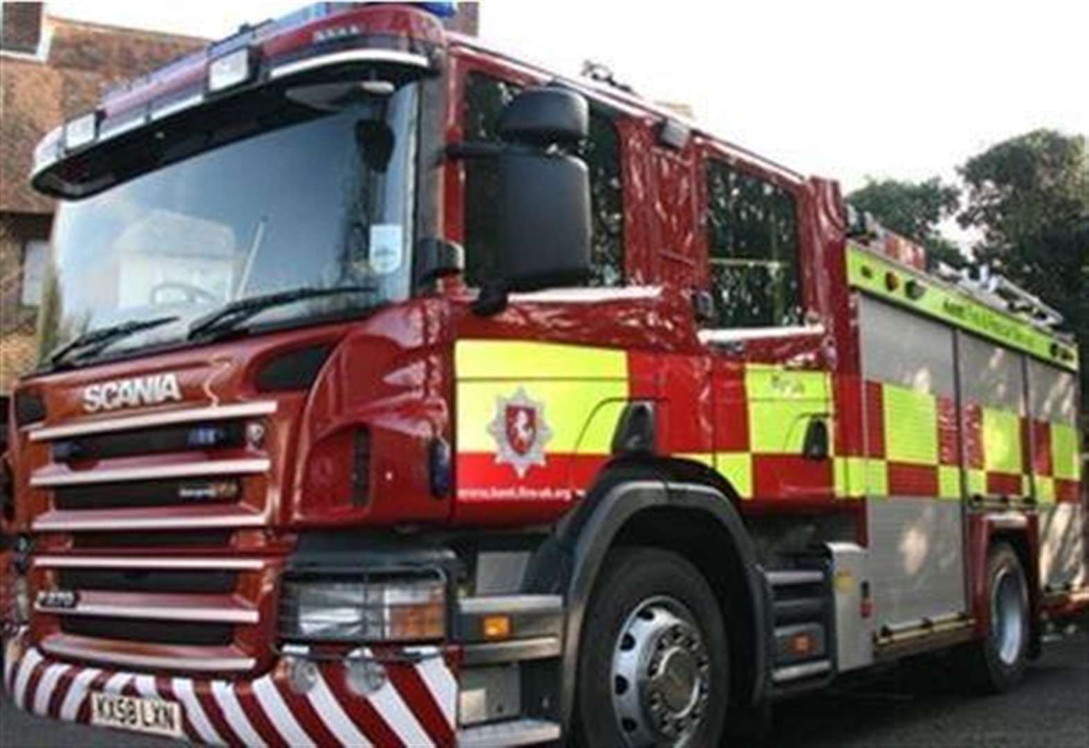 Fire engines rushed to the scene of three sheds alight this afternoon.