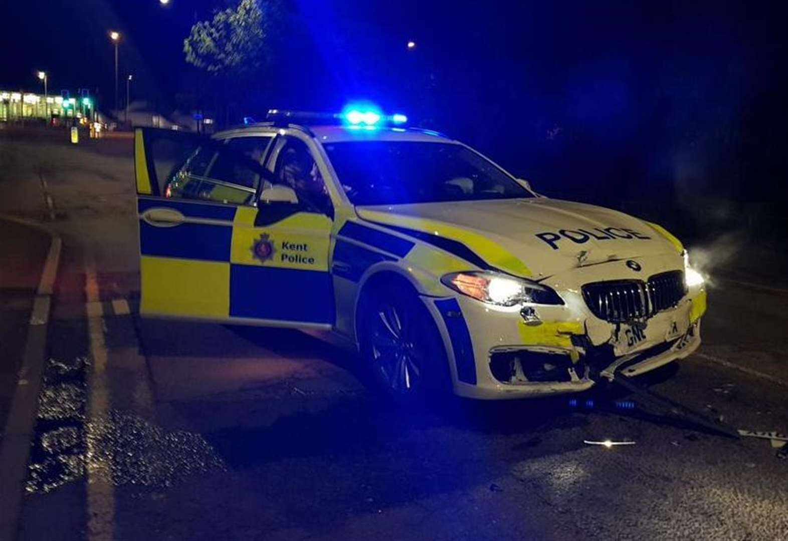 Driver reversed three times into police car