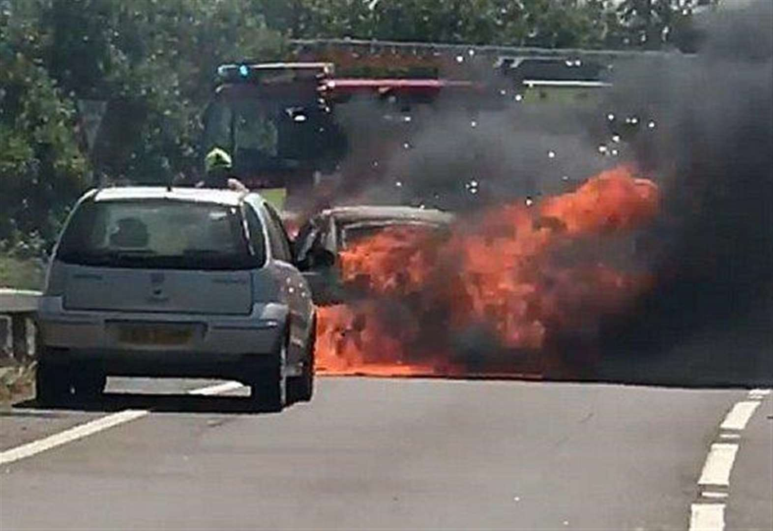 Three vehicles catch fire after crash