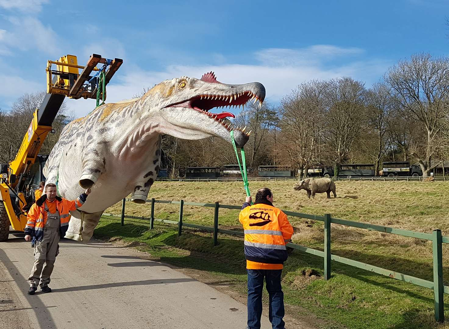 Dinosaur delivered to reserve by crane