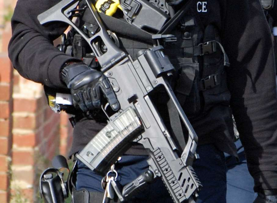 Armed police in Faversham. Stock image.