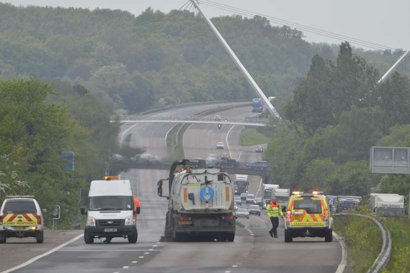 Highways crews at the scene of the M20 fatality. Picture: Gary Browne