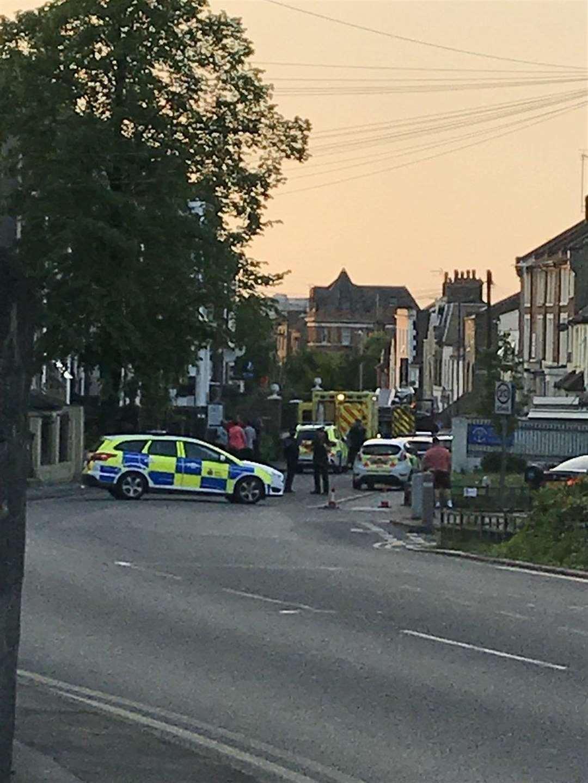 Emergency services in Parrock Street, Gravesend. Picture: Jason Abbott