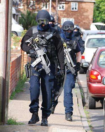 Armed police are involved in the incident.