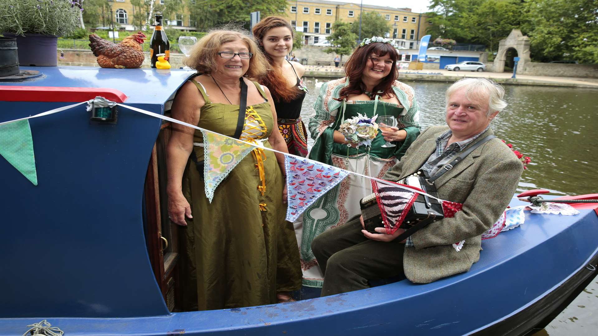 The pair got married on a flotilla of narrow boats