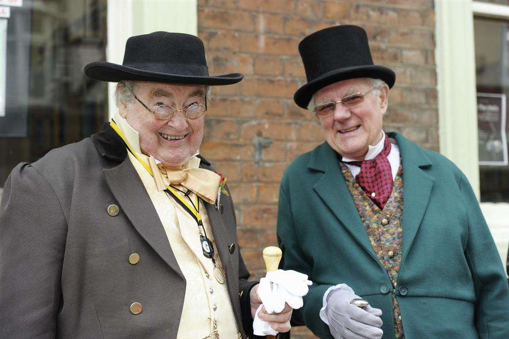 Cyril Baldwin, left, and Tony Trower in costume for the Dickens Festival
