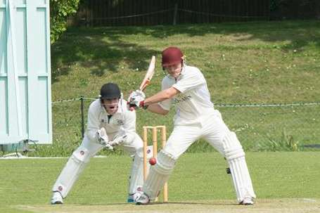Sandwich batsman Marnus Labuschagne hits out during his unbeaten 203 against Canterbury on Saturday. Picture: Roger Charles