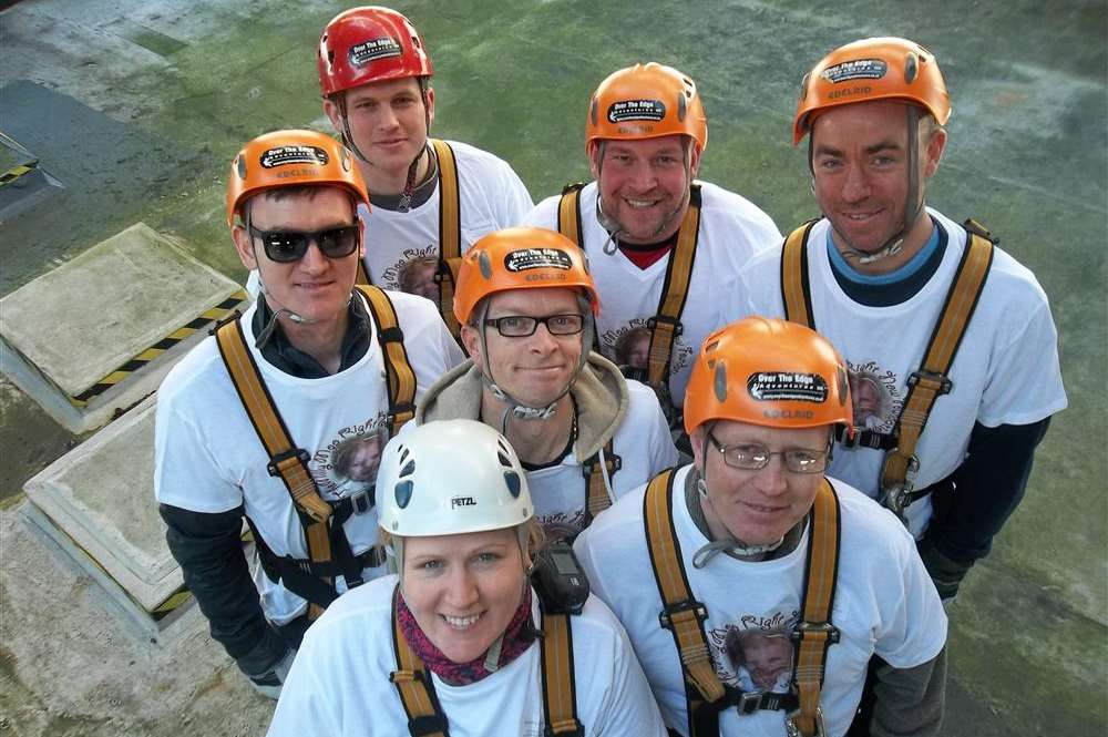 Staff from DHL Dartford took part in the KM Charity Team abseil in Maidstone for for Milly Moo Foundation. Darren Richards, Catherine Crowhurst, Ian Bardsley, Matt Mikolajewski, Danny Stokes, Filip Packowski and Dan Sargent.