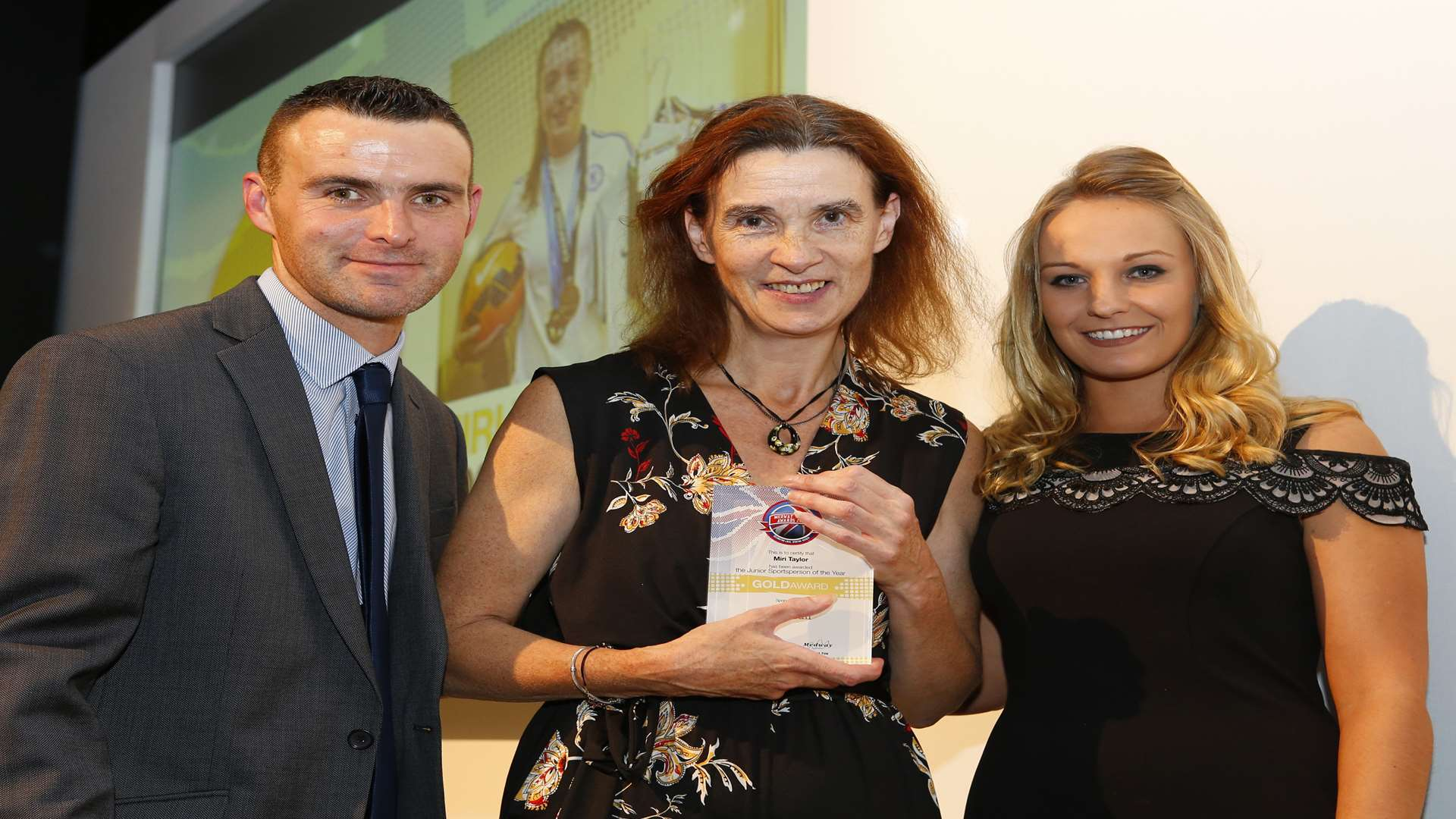 Miri Taylor's mum Debbie collected her Junior Sportsperson of the Year. Picture: Andy Jones
