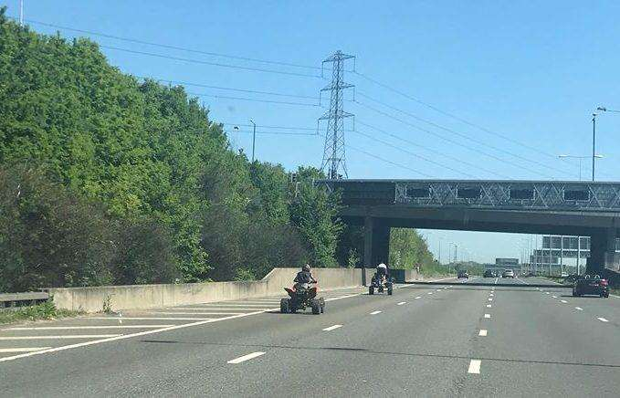 Two riders were seen on the A2, but one was without a helmet and trying to do a wheelie