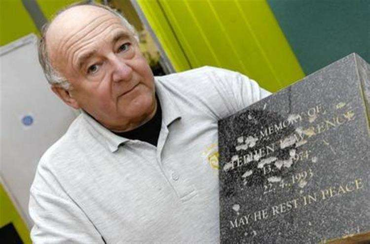 Gordon Newton, owner of The Stone Shop in East Farleigh, with the original memorial to Stephen Lawrence which was attacked with a hammer