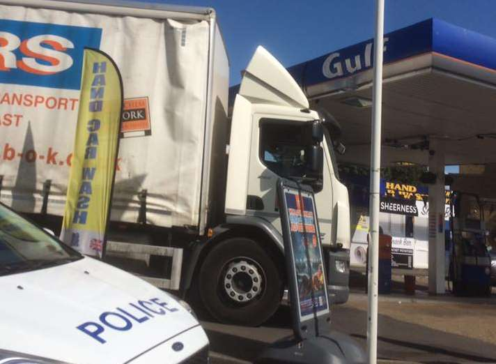 The lorry appears to have dented the canopy. Picture: Diane Baseden