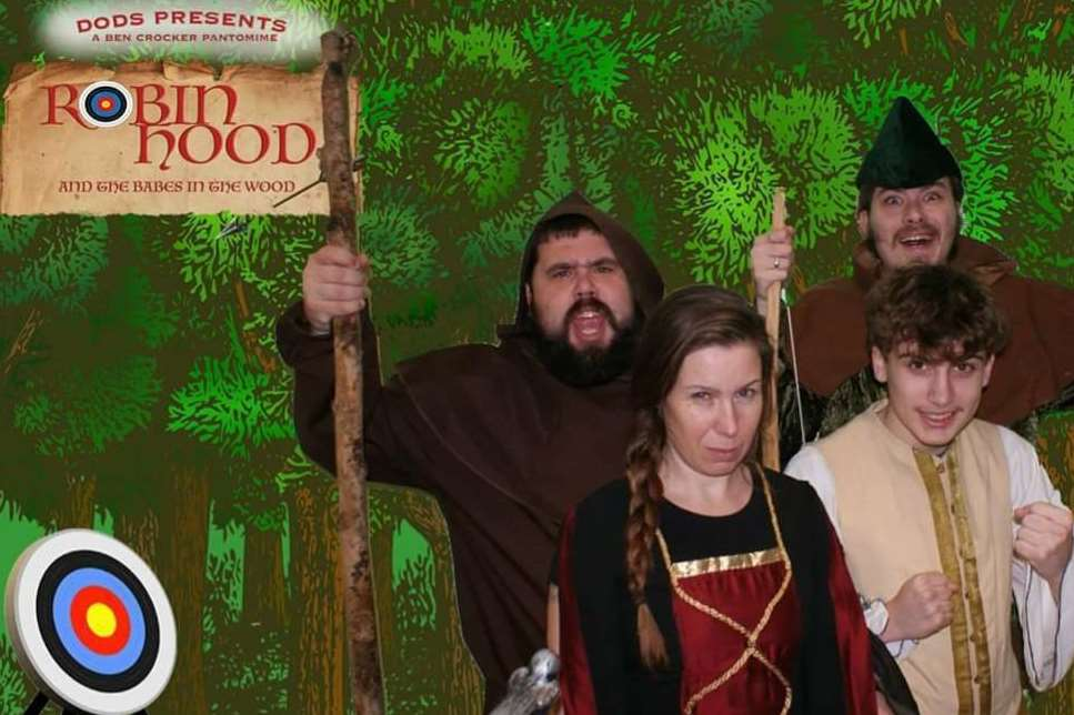 The pantomime Robin Hood and the Babes in the wood with characters Friar Tuck, Robin, Alan-a-Dale and Little Joan. Picture courtesy of Dover Operatic and Dramatic Society