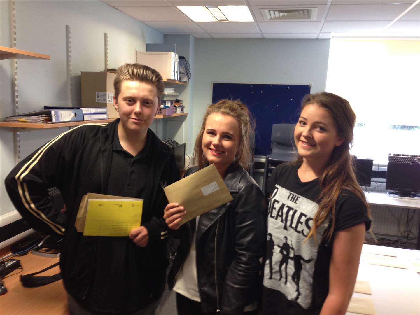 Northfleet School for Girls students Jack Fish, Ginnie Jackson and Aimee Anthony