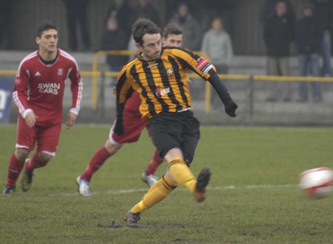 Darren Smith scores a penalty for Folkestone in the 2012/13 season Picture: Gary Browne