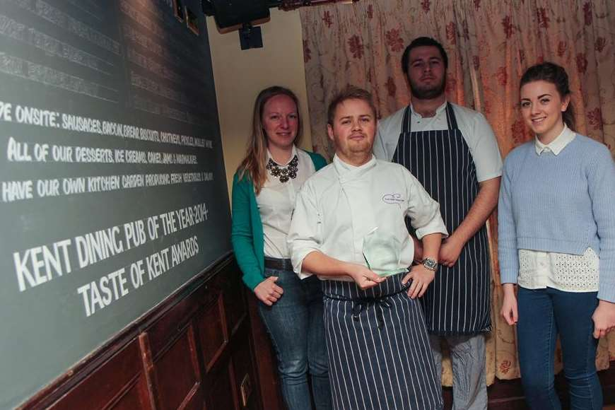 Victoria McCabe, manager, Vitalijis Kaneps, head chef, Harry Deverill, commis chef, and Kelci Carter, assistant to the manager