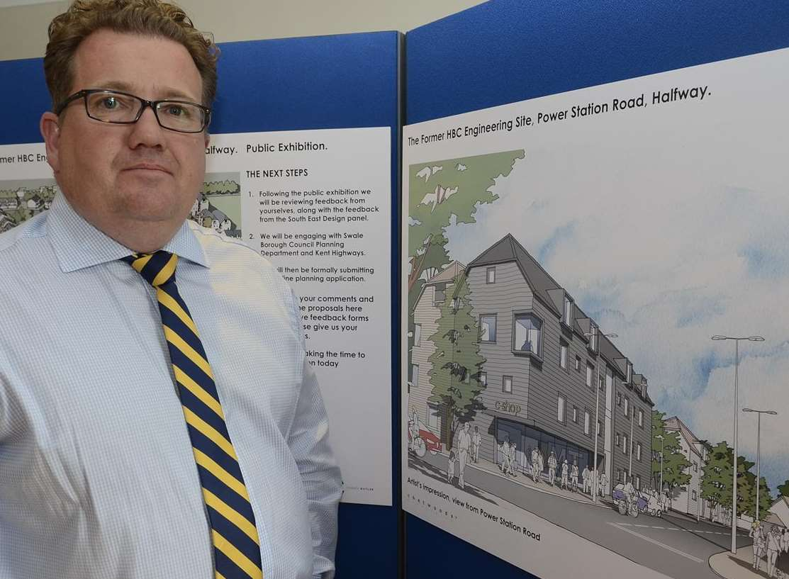 Paul Graham with the plans for the former HBC site in Power Station Road, Halfway