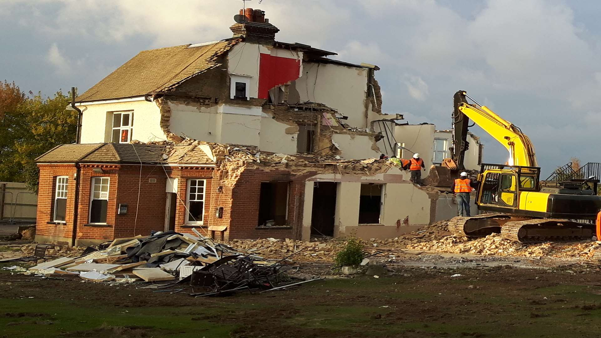The unauthorised demolition at the pub