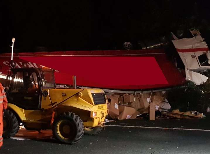 The lorry ended up on its roof. Picture: Highways England.
