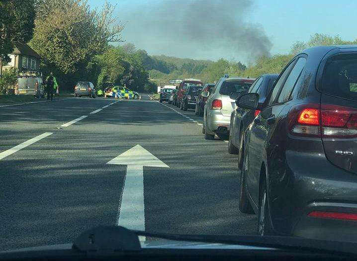 Smoke rising from the A249 fire. Picture: Tori Russon