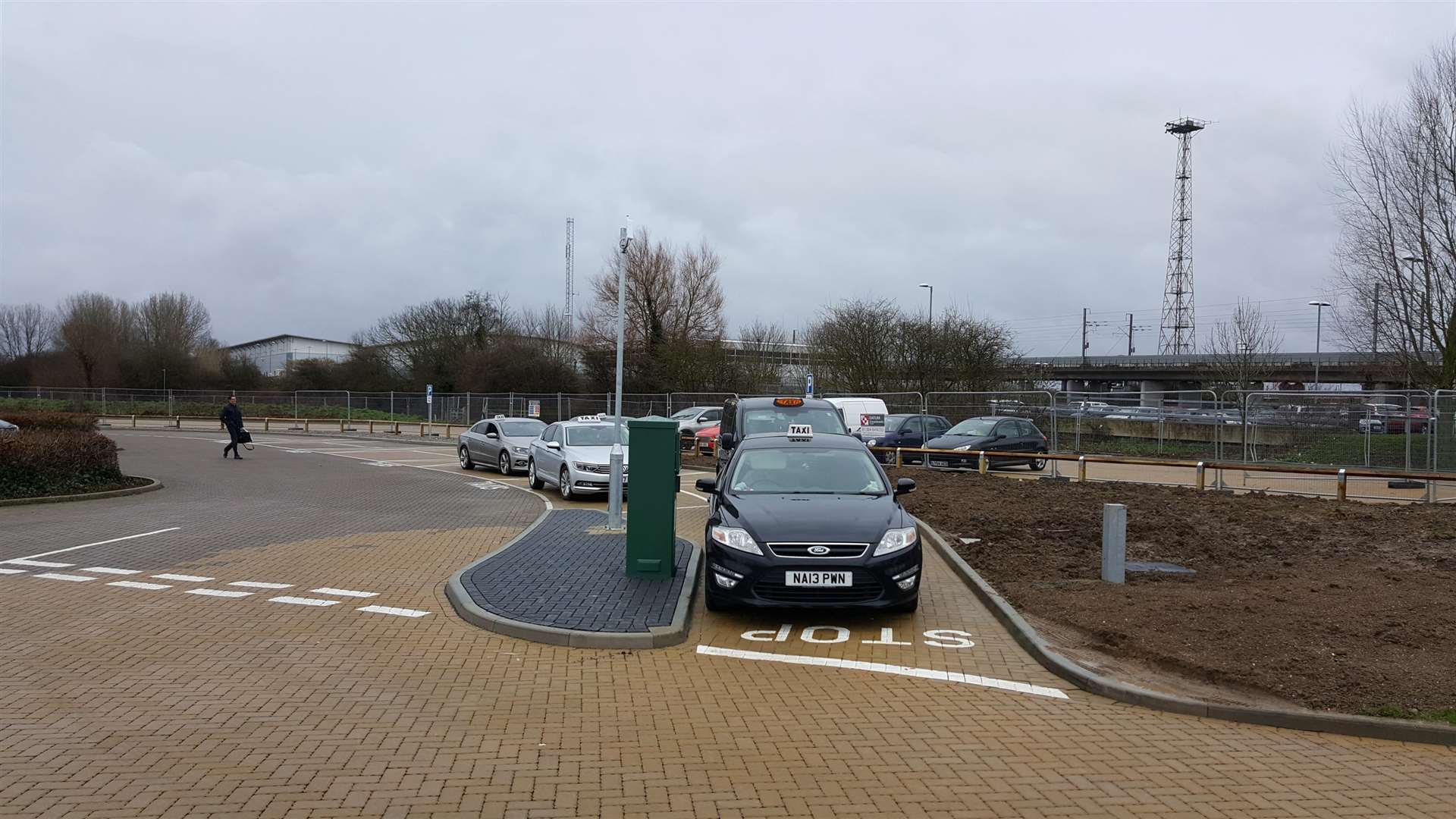 The area where taxis have to wait in the Stour Centre car park