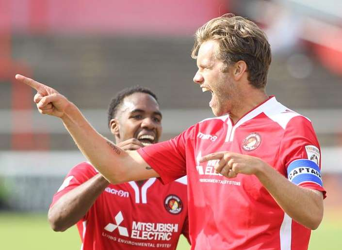 Daryl McMahon celebrates one of his 19 goals for Ebbsfleet United Picture: John Westhrop