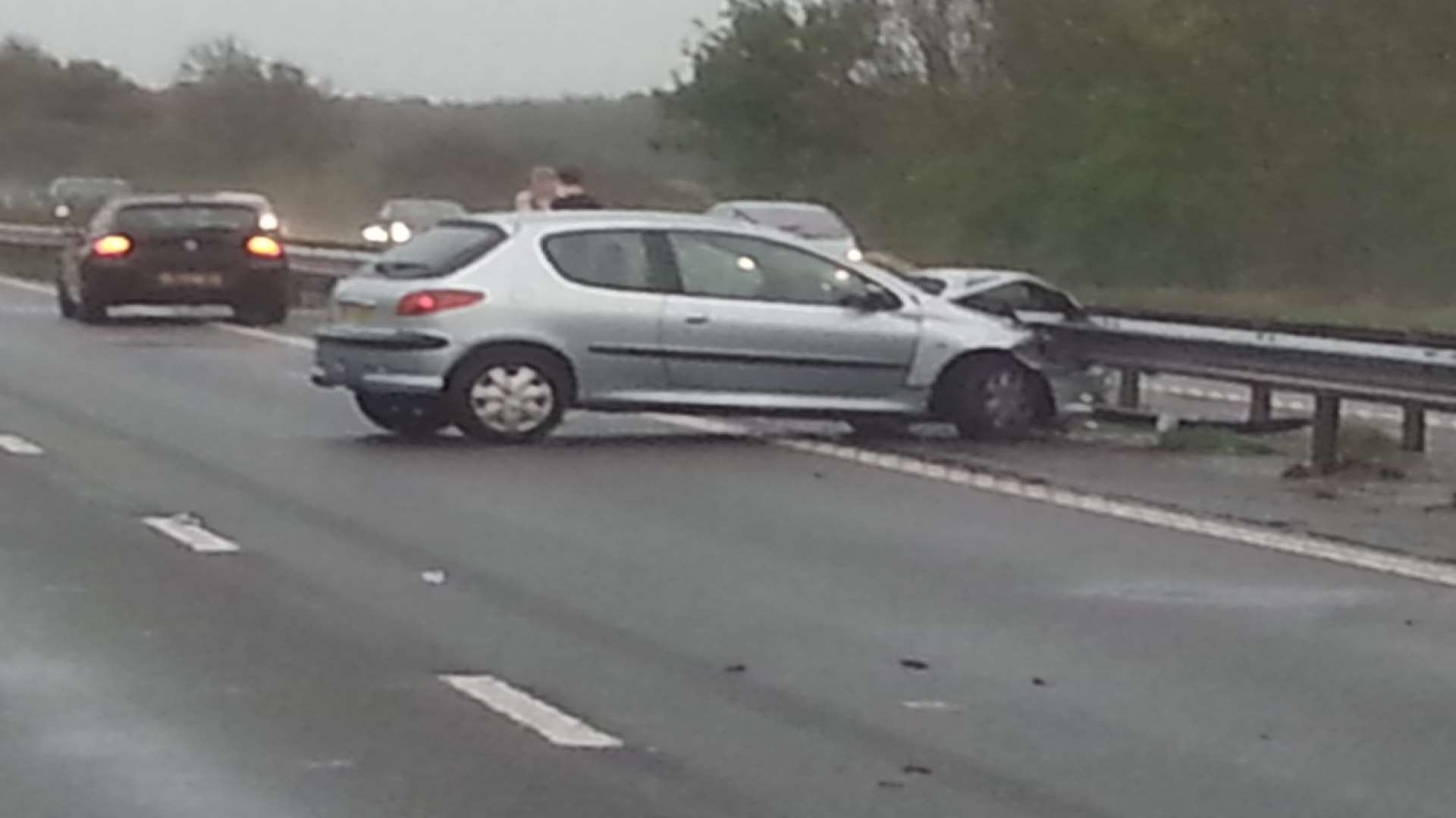 The aftermath of one of three crashes on the M2 one Friday morning