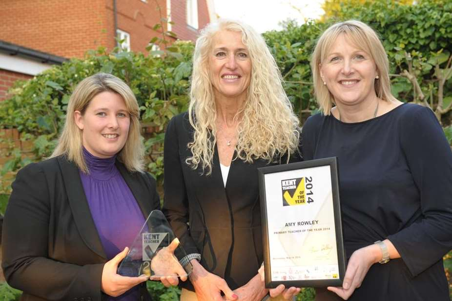 St George's teacher Amy Rowley, who was crowned Kent Teacher of the Year, with sponsors Mandy Holdstock, of Hempstead House and Jo Warby, of Brachers Law