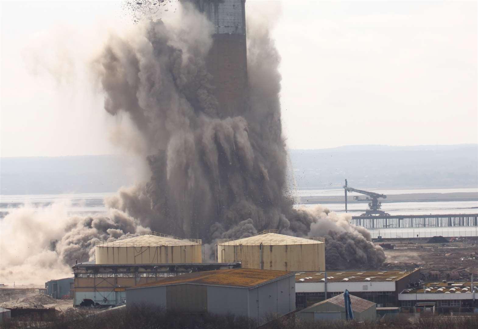 Kingsnorth Power Station Chimney Demolition
