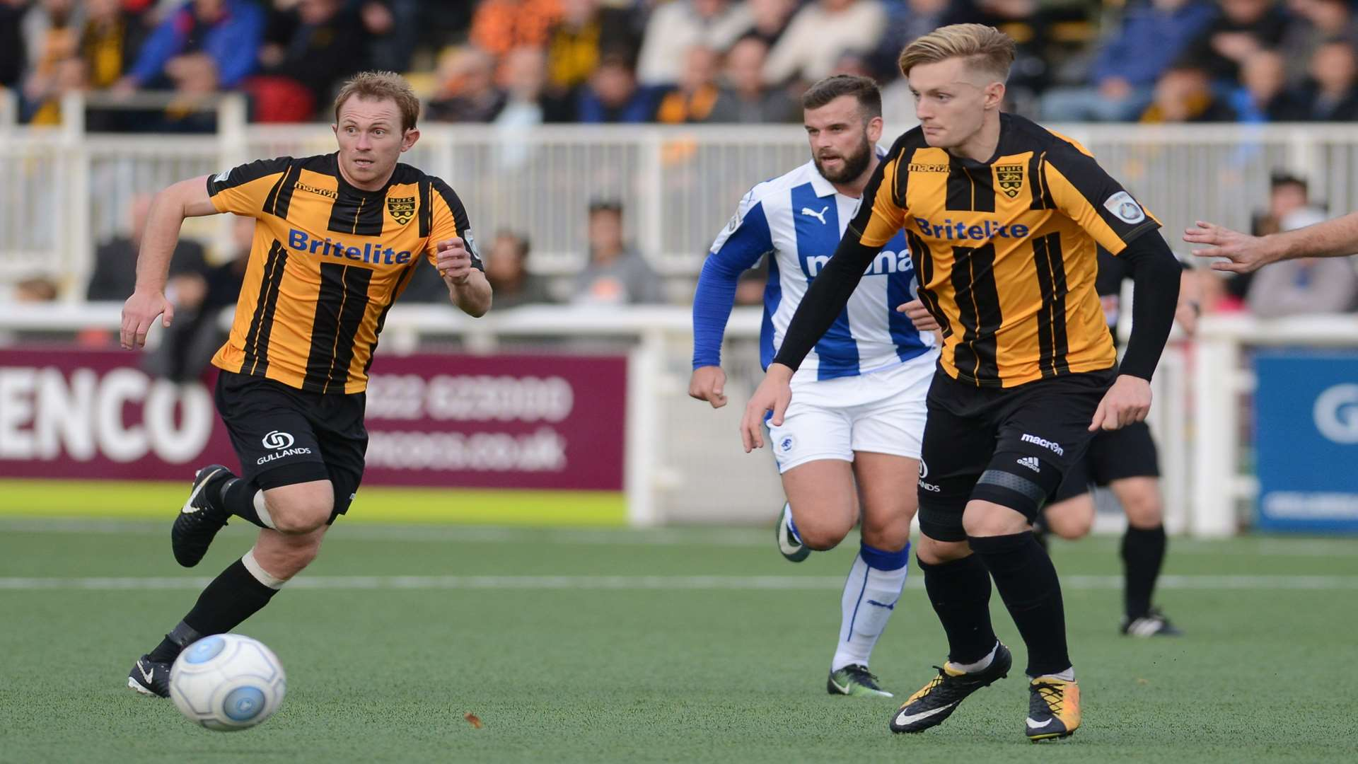 Joe Pigott and Stuart Lewis get busy Picture: Gary Browne